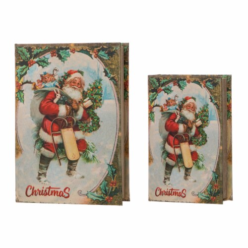 Glitzhome Decorative Wooden Santa's Book Christmas Boxes Perspective: front