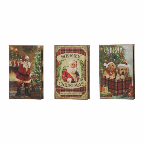 Glitzhome Decorative Wooden Christmas Book Boxes Perspective: front