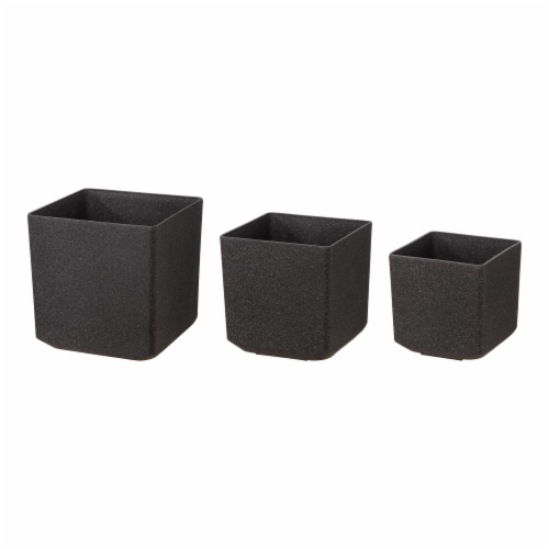 Glitzhome Oversized Faux Marble Square Plastic Planter -  Black Perspective: front