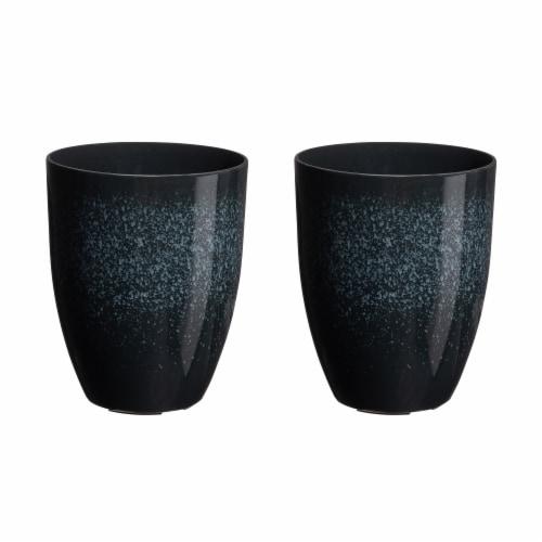 Glitzhome Oversized Faux Ceramic Tall Bowl Plastic Pot Planter - Black Perspective: front