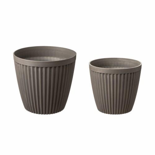 Glitzhome Oversized Faux Concrete Round Plastic Fluted Pot Planter Perspective: front