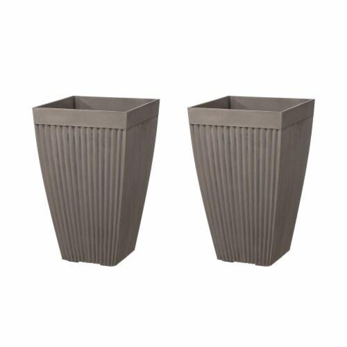 Glitzhome Faux Concrete Square Pot Planter Perspective: front