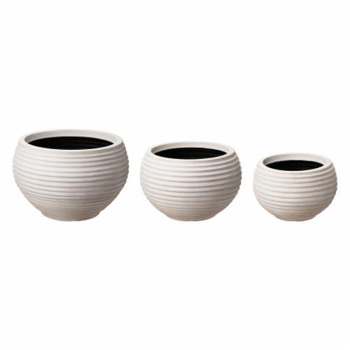 Glitzhome Fauz Porcelain Round Fluted Planters Perspective: front