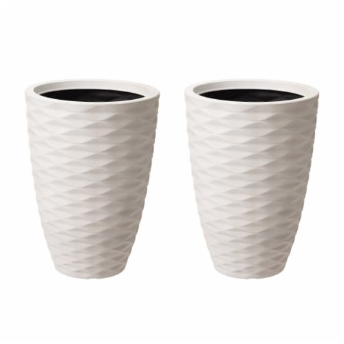 Glitzhome Faux Porcelain Round Planter Perspective: front