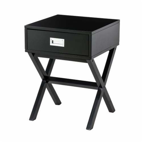 Glitzhome Modern Wooden X-Leg End Table - Black Perspective: front