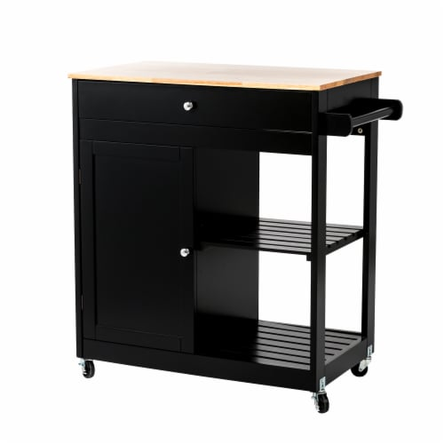 Glitzhome Basic Wooden Kitchen Island - Black Perspective: front