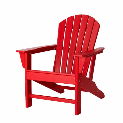 Glitzhome All-Weather Adirondack Chair -  Red Perspective: front