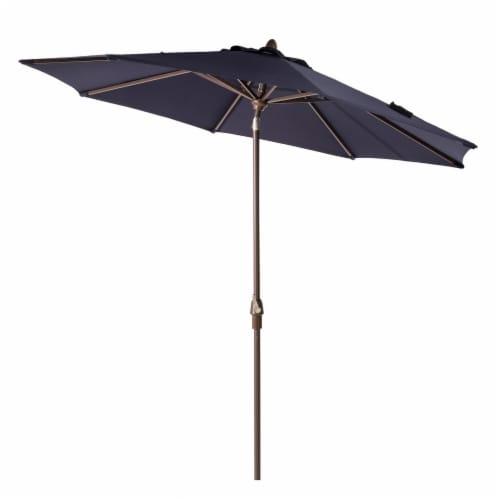 Glitzhome Aluminium Self Tilt Market Patio Umbrella - Navy Blue Perspective: front