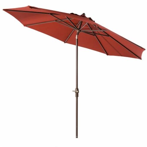 Glitzhome Aluminium Self Tilt Market Patio Umbrella - Wine Red Perspective: front