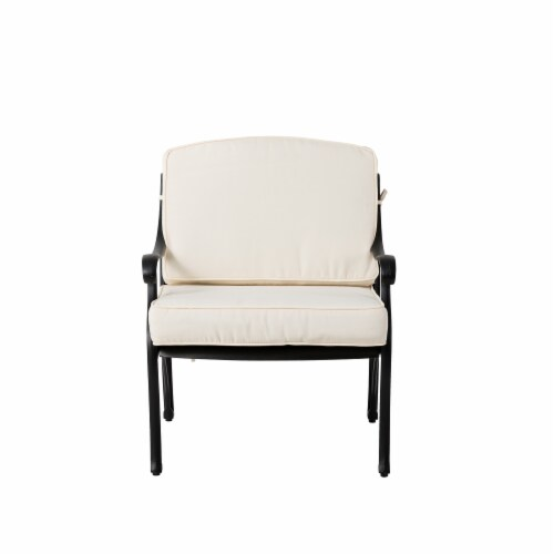Glitzhome Cast  Aluminium Patio Sofa Chair with Cushion - Beige / Black Perspective: front