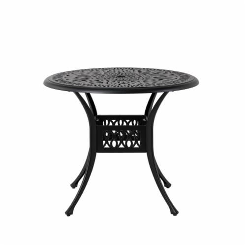 Glitzhome Cast Aluminium Patio Garden Round Dining Table- Black Perspective: front