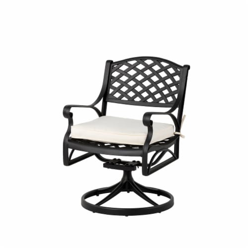 Glitzhome Cast Aluminum Patio Dining Swivel Chair - Beige Perspective: front