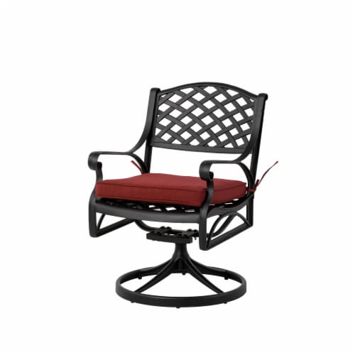 Glitzhome Cast Aluminium Patio Garden Dining Swivel Chair with Wine Red Cushion Perspective: front