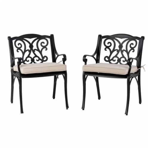 Glitzhome Cast Aluminium Dining Chairs with Beige Cushions Set Perspective: front