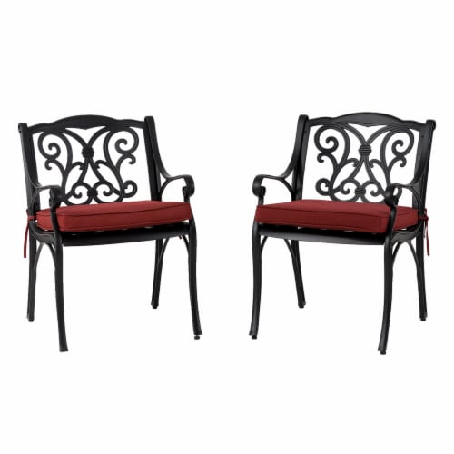 Glitzhome Cast Aluminium Dining Chairs with Red Cushions Set Perspective: front