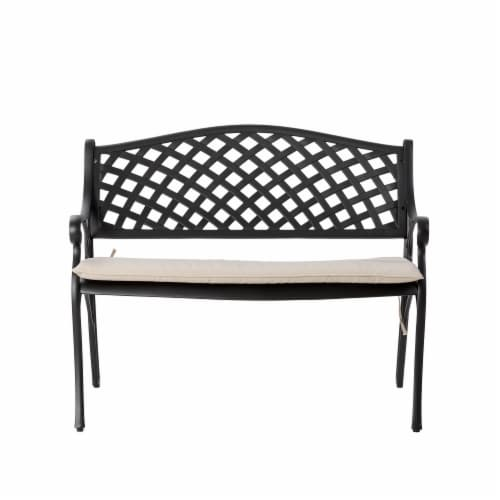 Glitzhome Aluminium Patio Garden Bench with Beige Cushion Perspective: front