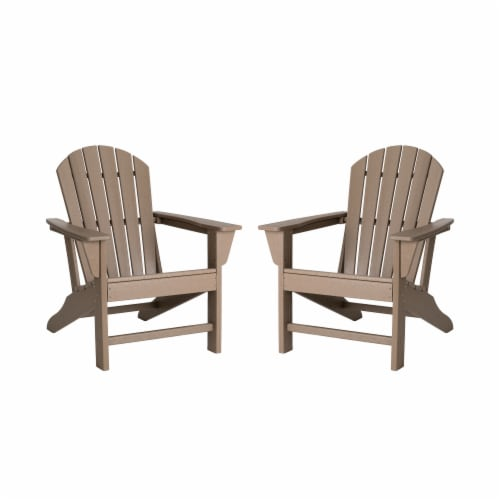 Glitzhome All-Weather Adirondack Chair - Tan Perspective: front