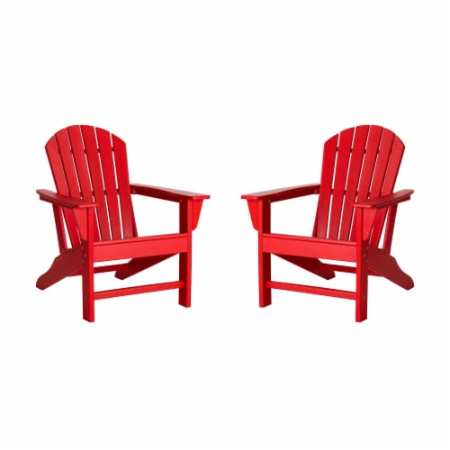 Glitzhome Adirondack Chair - Red Perspective: front