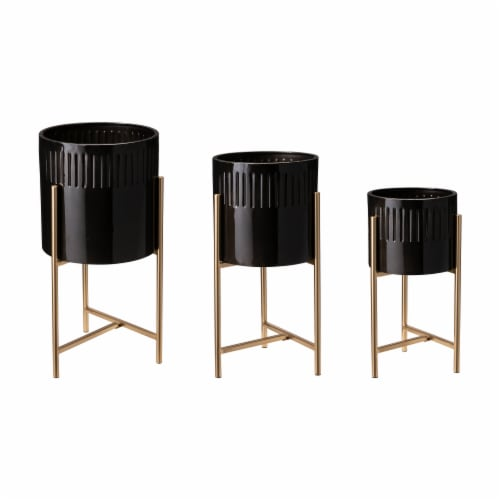 Glitzhome Modern Glossy Metal Plant Stands - Black/Gold Perspective: front
