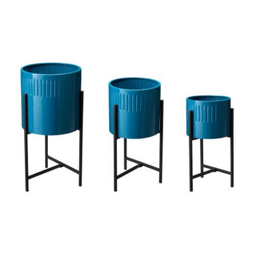 Glitzhome Modern Glossy Metal Plant Stands - Blue Perspective: front