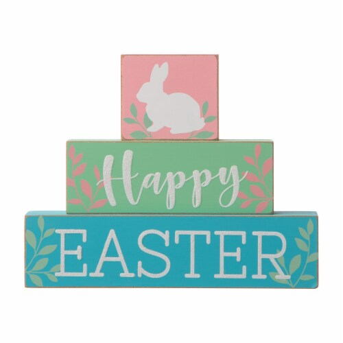Glitzhome Happy Easter Wooden Block Table Decor Perspective: front