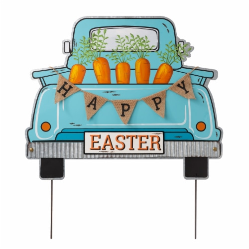 Glitzhome Easter Metal Truck Decor Perspective: front