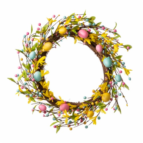 Glitzhome Bright Easter Egg Wreath Perspective: front