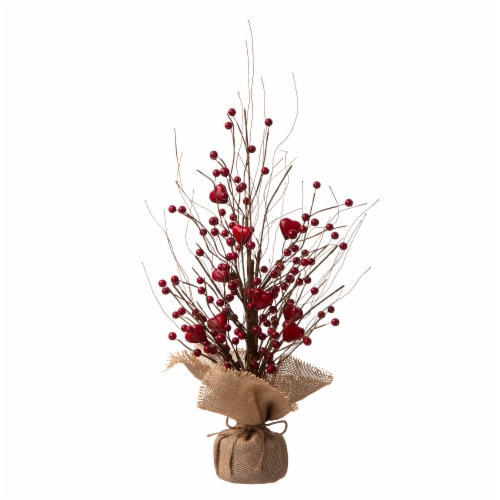 Glitzhome Valentine's Berry Heart Table Tree Decoration Perspective: front