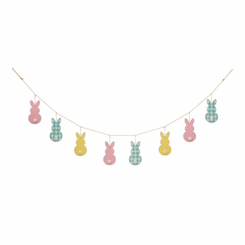 Glitzhome Easter Metal Bunny Garland Perspective: front
