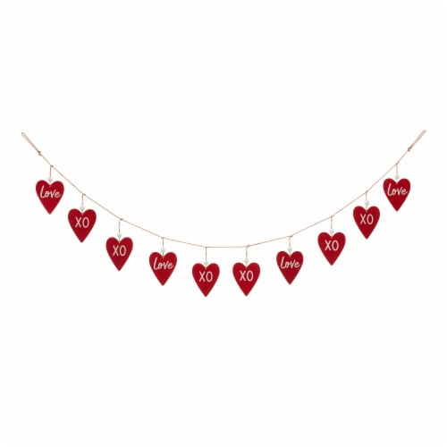 Glitzhome Valentine's Day Wooden and Metal Heart Garland Perspective: front