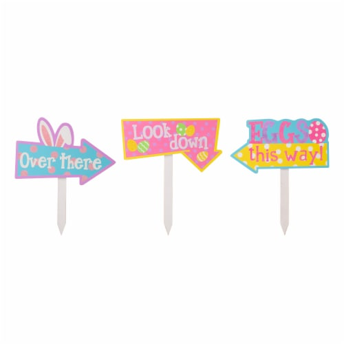Glitzhome Easter Wooden Path Sign Yard Stake Perspective: front