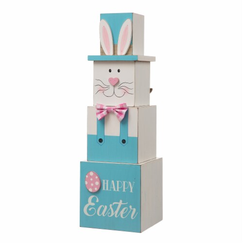 Glitzhome Doubled Sided Easter and July Fourth Wooden Porch Box Decor Perspective: front