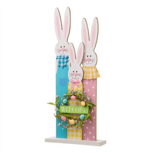 Glitzhome Easter Bunny Family Wooden Welcome Standing Sign Perspective: front