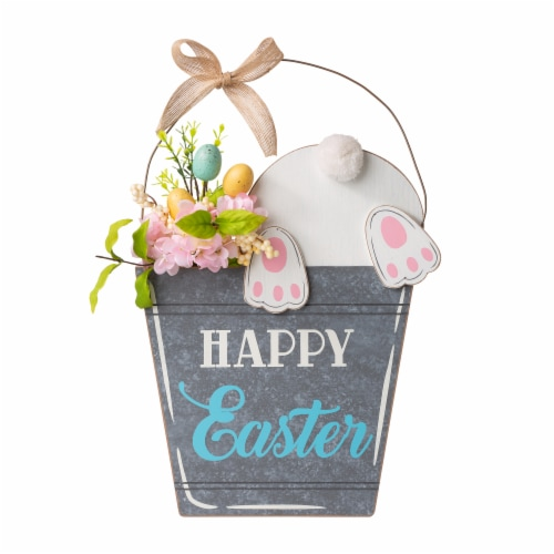 Glitzhome Wooden Easter Bunny Eggs and Bucket Hanging Wall Decor Perspective: front