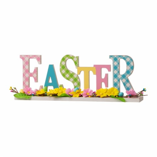Glitzhome Plaid Easter Wooden Table Decoration Perspective: front