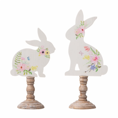 Glitzhome Easter Wooden Bunny with Candle Holder Pedestal Table Decor Perspective: front