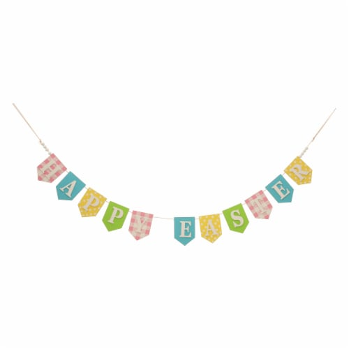 Glitzhome Happy Easter Wooden Garland Perspective: front