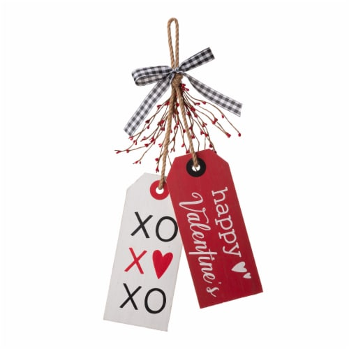 Glitzhome Valentine's Day Door Hanging Decor - Red/White Perspective: front