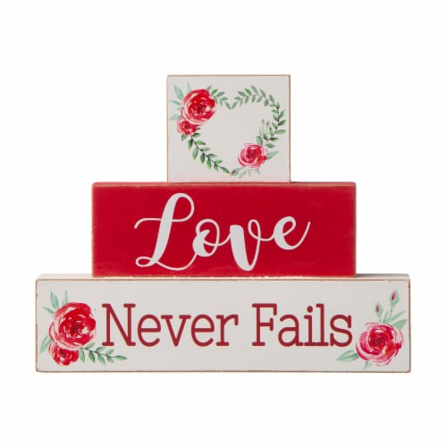 Glitzhome Love Never Fails Wooden Blocks Table Decor Perspective: front