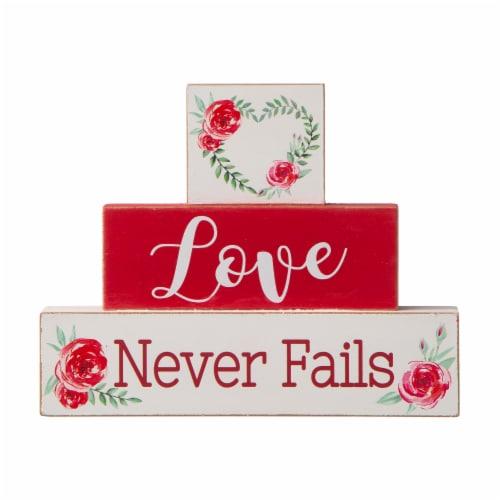 Glitzhome Love Never Fails Wooden Blocks Table Decor Perspective: front