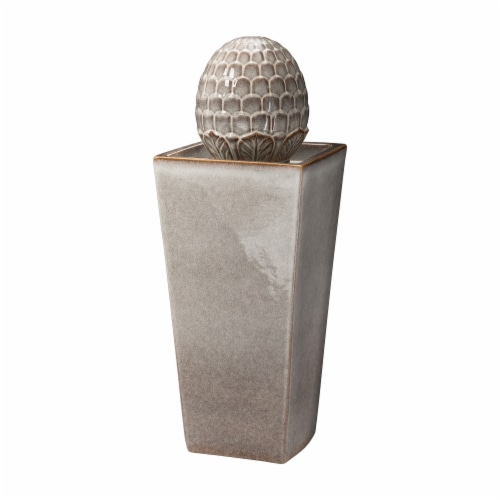 Glitzhome Ceramic Sphere Pedastal Outdoor Fountain - Ivory Perspective: front