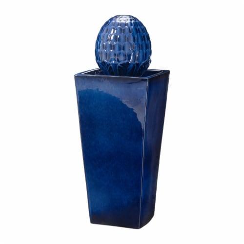 Glitzhome Ceramic Sphere Pedestal Fountain - Blue Perspective: front