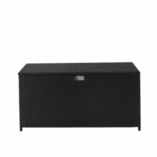 Glitzhome Outdoor Patio Garden Wicker Storage Deck Box - Black Perspective: front