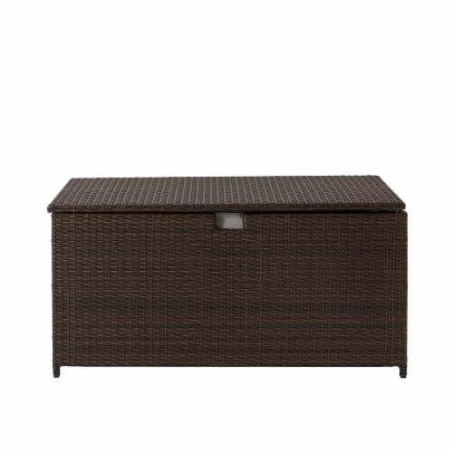 Glitzhome Outdoor Patio Garden Wicker Storage Deck Box - Brown Perspective: front
