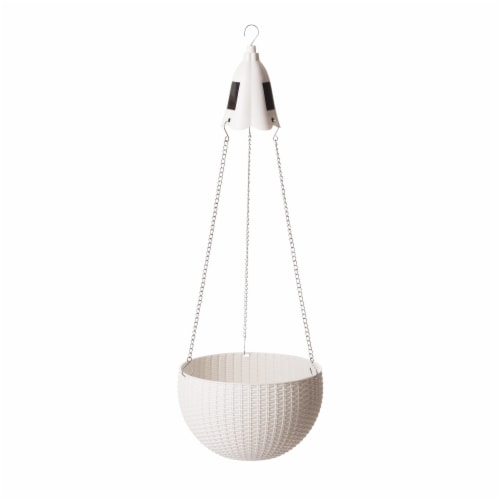 Glitzhome Solar Light Plastic Hanging Planter - White Perspective: front