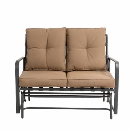 Glitzhome Outdoor Patio Garden Loveseat Glider Chair - Tan Perspective: front
