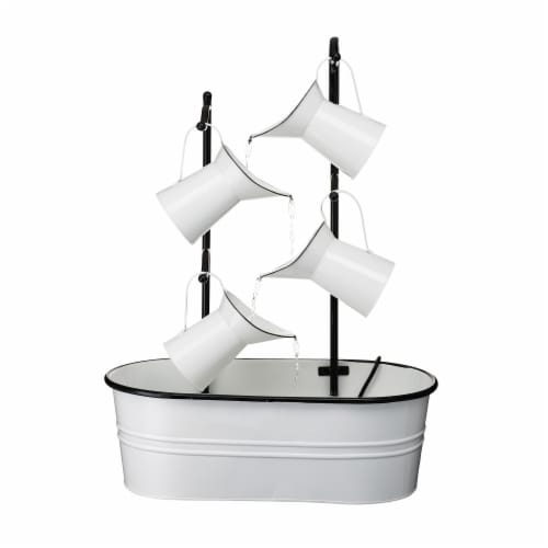 Glitzhome 4-Tiered Enamel Metal Pitchers Fountain - White Perspective: front