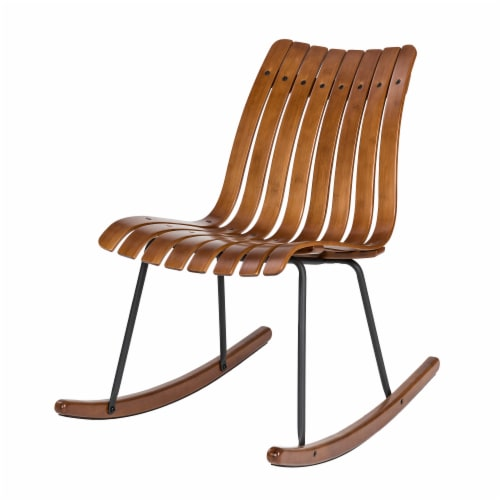 Glitzhome Contoured Natural Bamboo Rocking Chair Perspective: front
