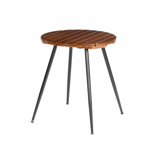 Glitzhome Round SLatted Bamboo Table Perspective: front