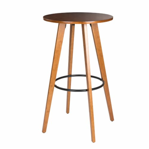 Glitzhome Midcentury Modern Round Natural Bamboo Bar Table Perspective: front